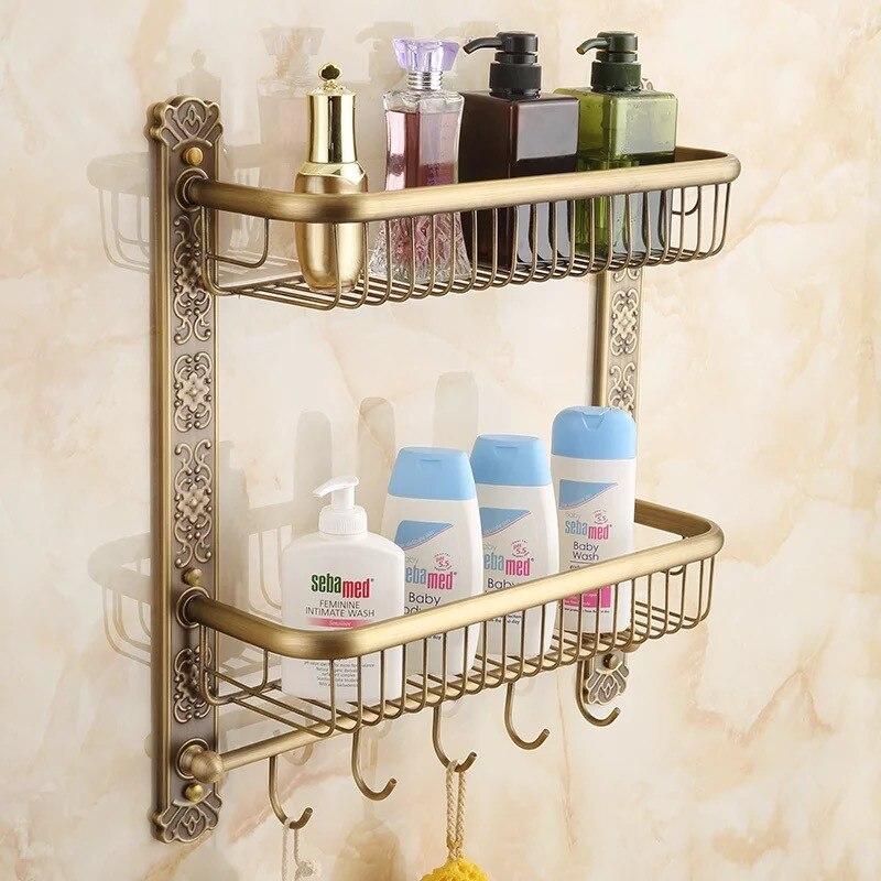 Bathroom antique brass Europe Style bathroom shelf cosmetic holder ...