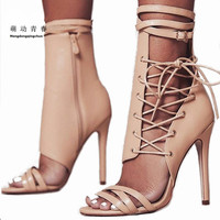 Women Sandals 2018 Fashion Summer Gladiator Sandals Woman Shoes Lace Up Ankle Strap High Heels Party