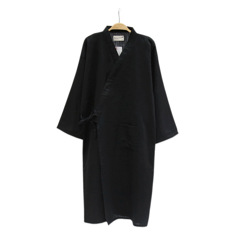 Pure Black Kimono Robes Men 100% Gauze Cotton Simple Nightwear Summer SPA Roupas Kimono Japanese Male Bathrobes Pyjama Hombre
