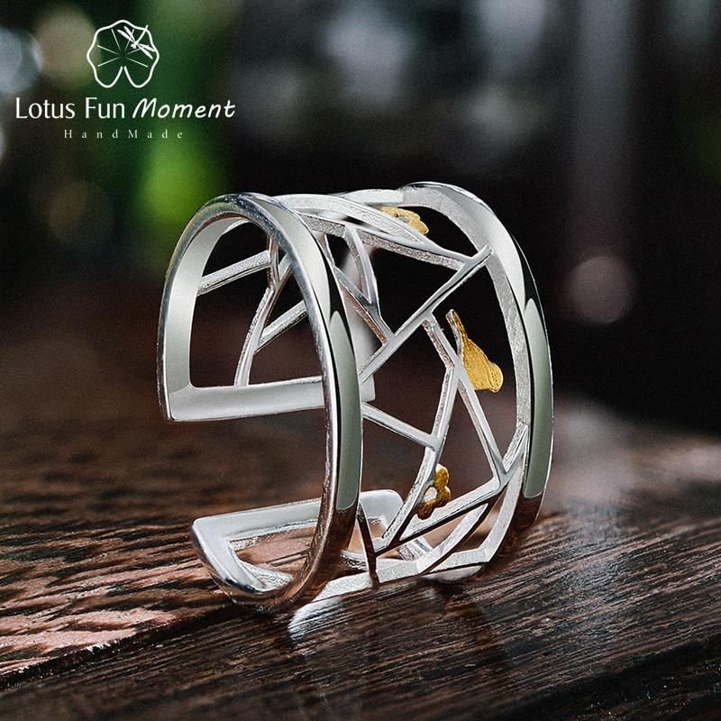 Lotus Fun momento Real 925 plata esterlina moda joyería minimalismo Lovely Birds elemento geométrico para las mujeres
