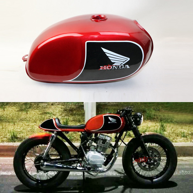 cafe racer mutt mash motocycle modified fuel tank cg xf125 red vintage retro cafe racer fuel