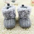 Baby Girl Shoes 7 Colores Toddler Knited Faux Fleece Cuna Botas de Nieve Del Cabrito Del Bowknot de Lana Yam Fur Knit Zapatos