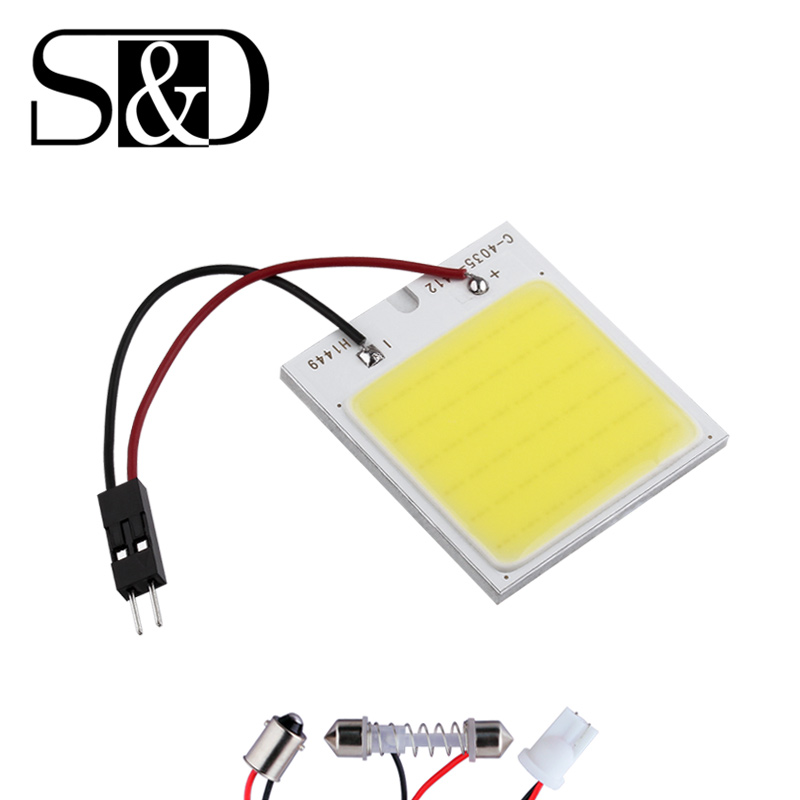 COB 48 Chip LED Car Panel Interior Light T10 Festoon Dome ba9s car light source 12V W5W C5W Car LED bulbs Reading lamp D45 cnsunnylight led car reading light interior luggage door lamp free refit portable emergency light for car home office bedroom
