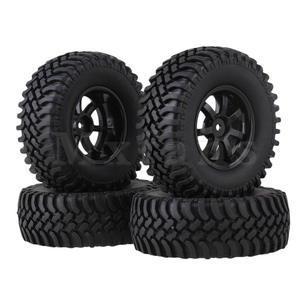 Mxfans 4 x RC1 10 Rock Crawler Simulation Rubber Tyre Red Plastic 7 Spoke Wheel Rim