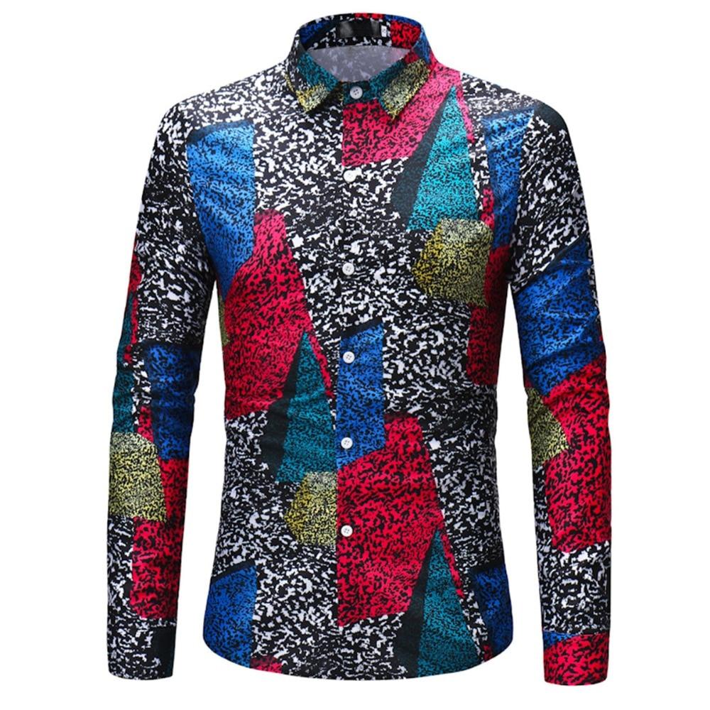 Casual shirt men Vintage multicolor patchwork printed mens dress shirts long sleeves slim fit social male shirt Big size 3XL XL