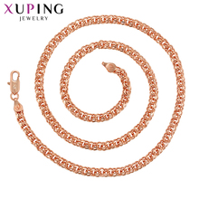 Xuping for Women Fashion Jewelry Temperment Design Rose Gold-color Plated Long Necklace Valentines Gifts S92-44802