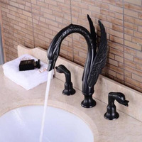 New arrival Luxury high quality ORB finished cold and hot bathroom swan design widespread 8' sink faucet basin faucet