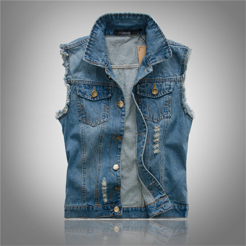 plus latest Fashion Mens Denim Vest Vintage Sleeveless Washed Jackets Jeans Waistcoat Men Cowboy Ripped Male Jacket Big Size 6XL