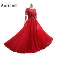 매력적인 빨간 이브닝 드레스 여성 정장 아플리케 Beadings 쉬폰 긴 소매 어머니 신부 드레스 결혼