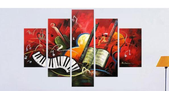 Abstract Painting Music Guitar Wall Decoration Large Oil