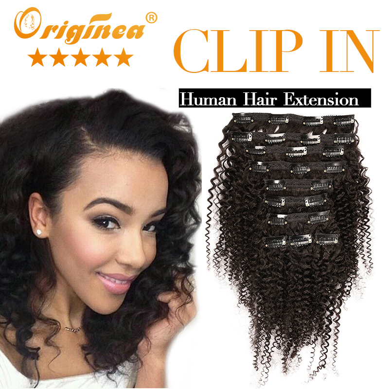 African American Clip in Curly Hair Extension 7A Brazilian Virgin Hair Afro Kinky Curly Clip in Hair Extension Curl Clip in Hair