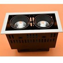 Square LED Spot Light COB Light 2x15w Dimmable LED Recessed Ceiling Light Lamp Double Head LED Grille Spot Light AC110V/AC220V spot light 1840104