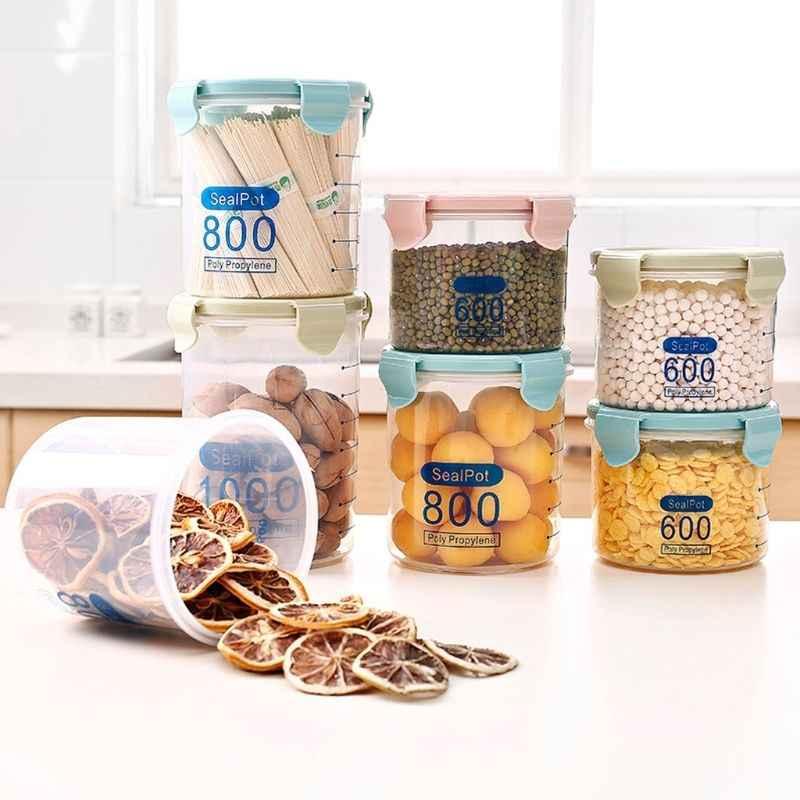 Caixa De Armazenamento De cozinha Garrafas De Armazenamento Frigorífico de Vedação do Recipiente Caixa de Preservação de Alimentos Recipiente Pote de Doce de Plástico