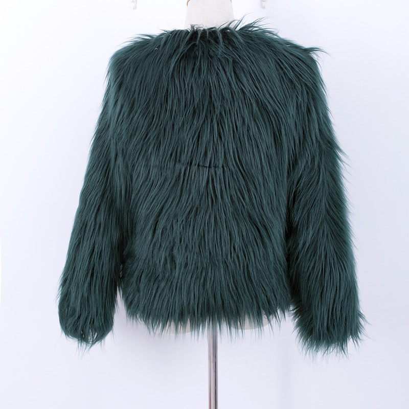 adfcc1a5a35 Fluffy faux fur coat green fur jackets overcoats outerwear women ...