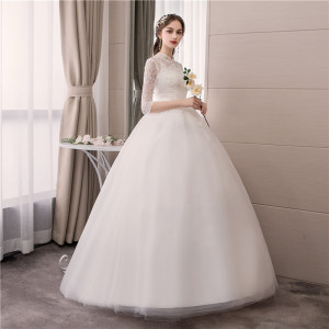 Image 5 - EZKUNTZA Lace High Neck 2019 New Wedding Dress Fashion Slim Embroidery Backless Plus Size Custom Made Bride Gown Robe De Mariee