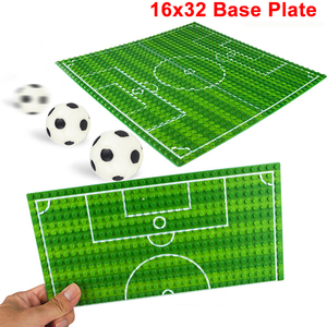 Image 1 - 32*16 Football Basketball Base Plate Compatible Legoe Figures Court Baseplate DIY Building Blocks Bricks Toys For Children Gifts