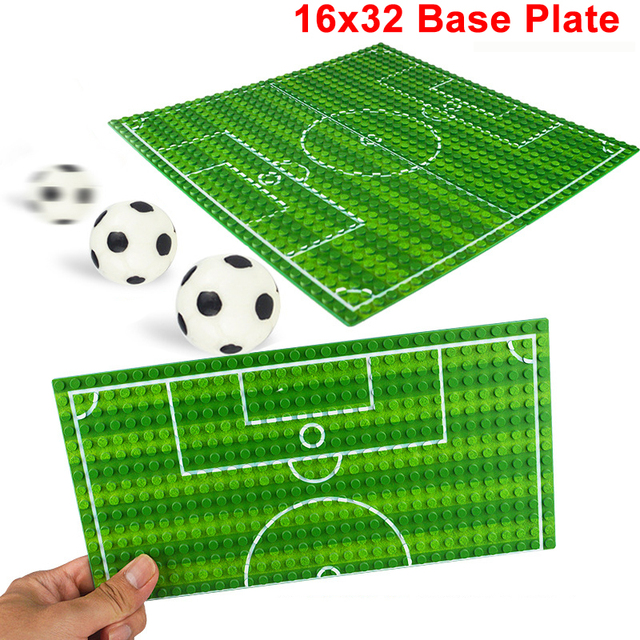 32*16 Football Basketball Base Plate Compatible Legoe Figures Court Baseplate DIY Building Blocks Bricks Toys For Children Gifts