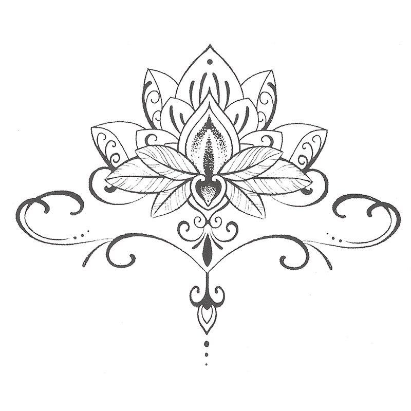 Impermeable Tatuaje Temporal Pegatinas Lindo Buda Lotus Flores
