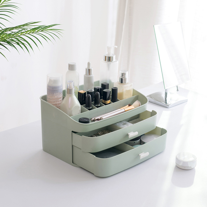 c14d618a135f US $23.53 25% OFF|Plastic Makeup Organizers Cosmetic Jewelry Box Brush  Lipstick Holder 2 Drawers Desk Storage Case Bathroom Home Accessories  Stuff-in ...