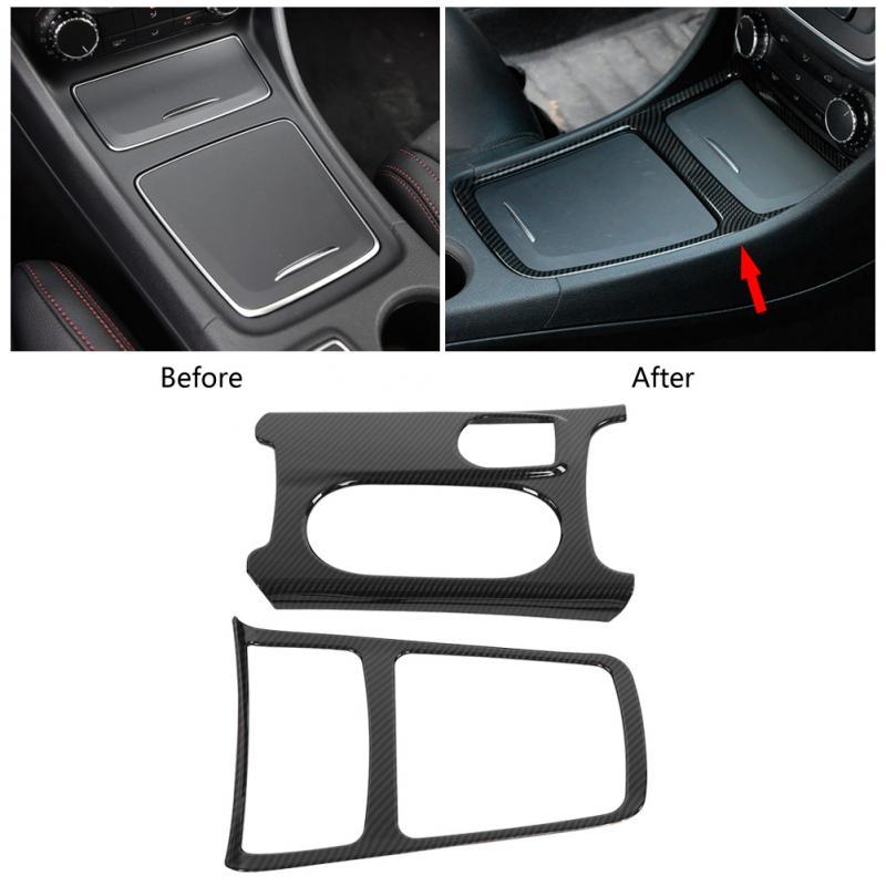 26.5*19 cm ABS Carro De fibra de Carbono Centro AGLACLA Moldura da Caixa De Armazenamento Copo Titular Capa para Mercedes Benz Classe w176 C117 X156