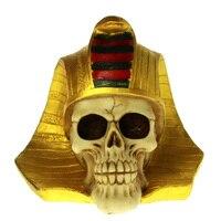 1Piece Ancient Egyptian King Skeleton Mask Sculpture Golden Mummy Death Egyptian Tutankhamun Pharaoh Skull Figurine Pharaoh King