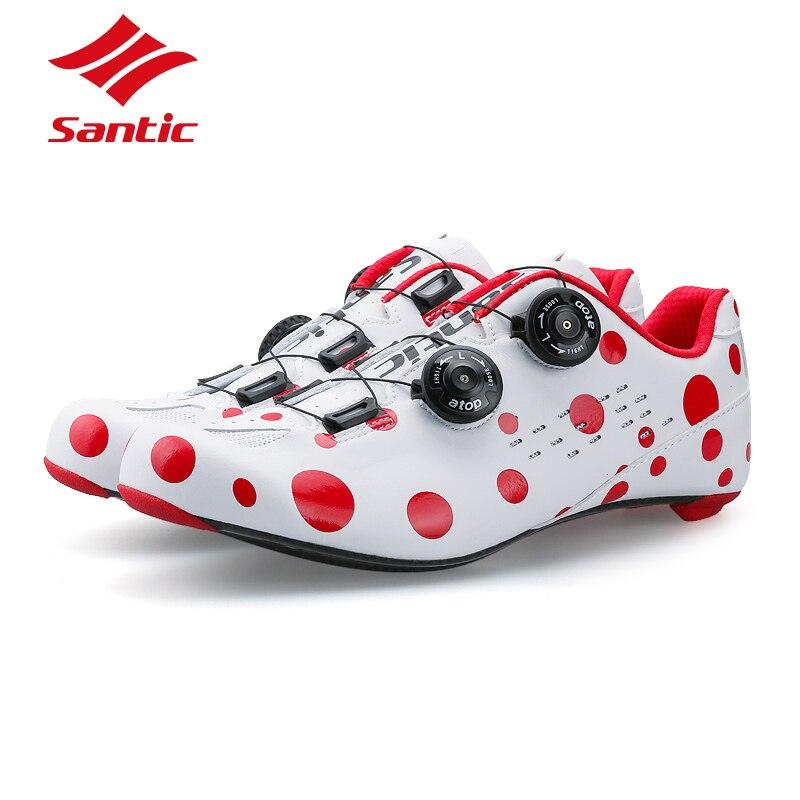 SANTIC PRO Carbon Fiber Road Cycling font b Shoes b font 2018 Red Spot Road Bike