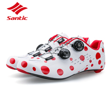 SANTIC PRO Carbon Fiber Road Cycling Shoes 2018 Red Spot Road Bike Shoes Rotate Buckle Bicycle Shoe Zapatillas Ciclismo Men