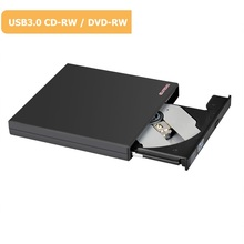 ELUTENG USB 3.0 External Optical DVD RW CD RW Drive Portable Slim 17mm DVD-ROM 8X CD-ROM 24X Burner for Laptop, Desktop Black