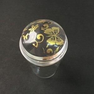 Image 2 - 1Pc 2.8ซม.วุ้นเล็บStamperโปร่งใสซิลิโคนMarshmallow Nail Art Stamperชุดหมวกเล็บแสตมป์ & Scraper YZ 10