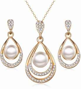 Fashion Temperament Upscale Glamorous Imitation Pearl Jewelry Set Rhinestone Gold Necklace Set Ladies Bride Wedding Drop Earring
