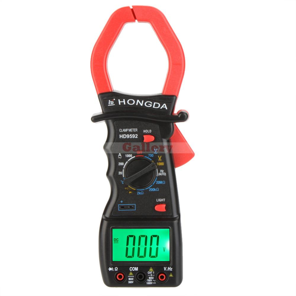 Hd Hd9592 Digital Clamp Meter Multimeter Ammeter Voltmeter Ohmmeter Temperature W Frequency Test & Lcd Backlight Clamp Meter my68 handheld auto range digital multimeter dmm w capacitance frequency