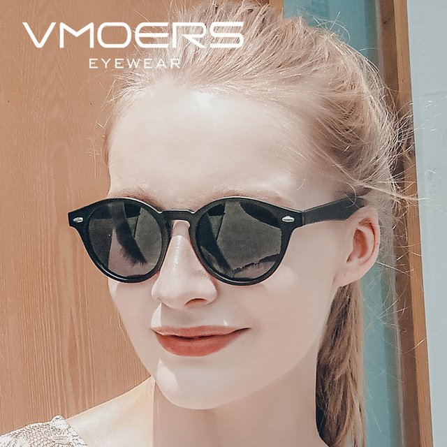 52ab370bc5 VMOERS Vintage Round Sunglasses Women Polarized Shades Female Black Oculos  de sol Feminino Retro Rivet Sun