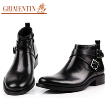 GRIMENTIN Brand Large size 46 fashion mens ankle boots genuine leather double buckle black brown men shoes
