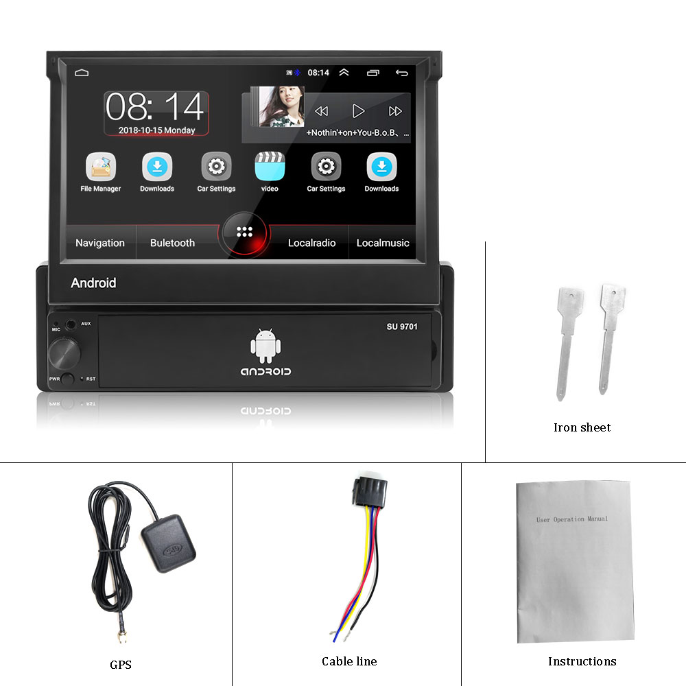 Hikity Android 1din Quad-Core Car GPS Navigation Player 7'' Universal Car Radio WiFi Bluetooth MP5 1 DIN Multimedia Player NO DVD 6