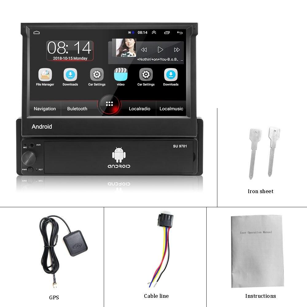 Radio retráctil para coche Hikity Android 8,1 GPS Wifi Autoradio 1 Din 7 ''pantalla táctil para coche reproductor Multimedia MP5 cámara de soporte - 6