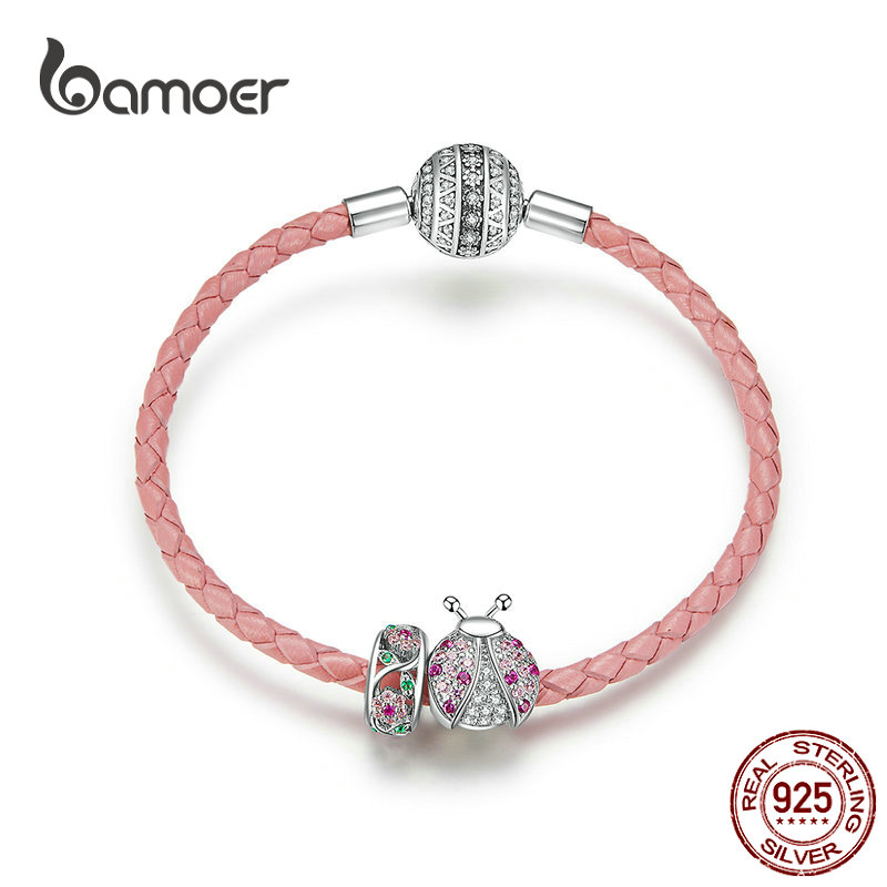 Bamoer Rosa mariquita insertar y flor cuentas plata encanto para mujer pulsera de cuero Plata de Ley 925 joyería de lujo SCB823
