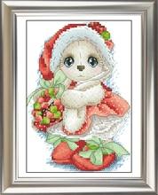 Rankdarbiai, DIY kryžminiai stitch, rinkiniai siuvinėjimui rinkiniams, 11CT ir 14CT, Kalėdų mažasis triušis