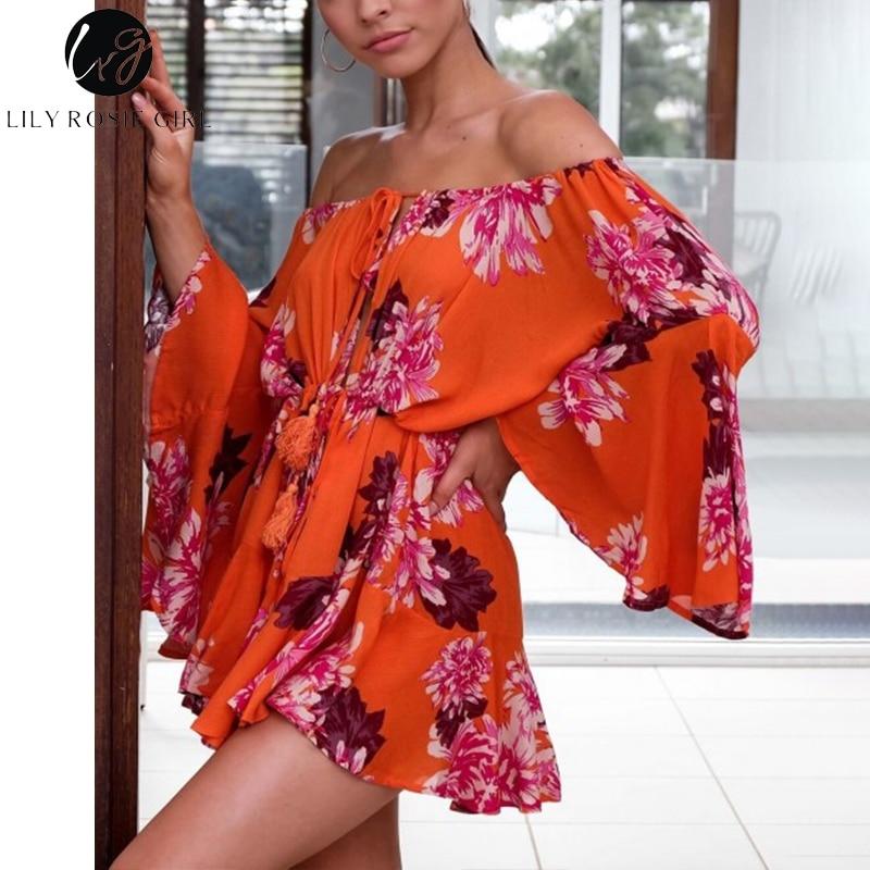 Image 4 - Lily Rosie Girl Off Shoulder Flare Sleeve Summer Playsuit Print Floral Boho Beach Playsuit Women Orange Short Jumpsuit RompersRompers   -