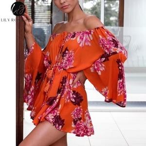 Image 4 - Lily Rosie fille épaule dénudée manches évasées combishort dété imprimé Floral Boho plage combishort femmes Orange combinaison courte barboteuses