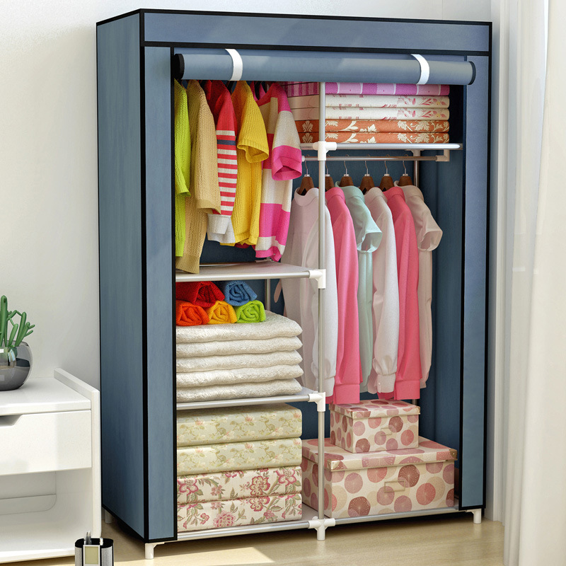 Простой модный гардероб нетканый материал стальная рама армирование стоя хранения складной органайзер мебель для спальни