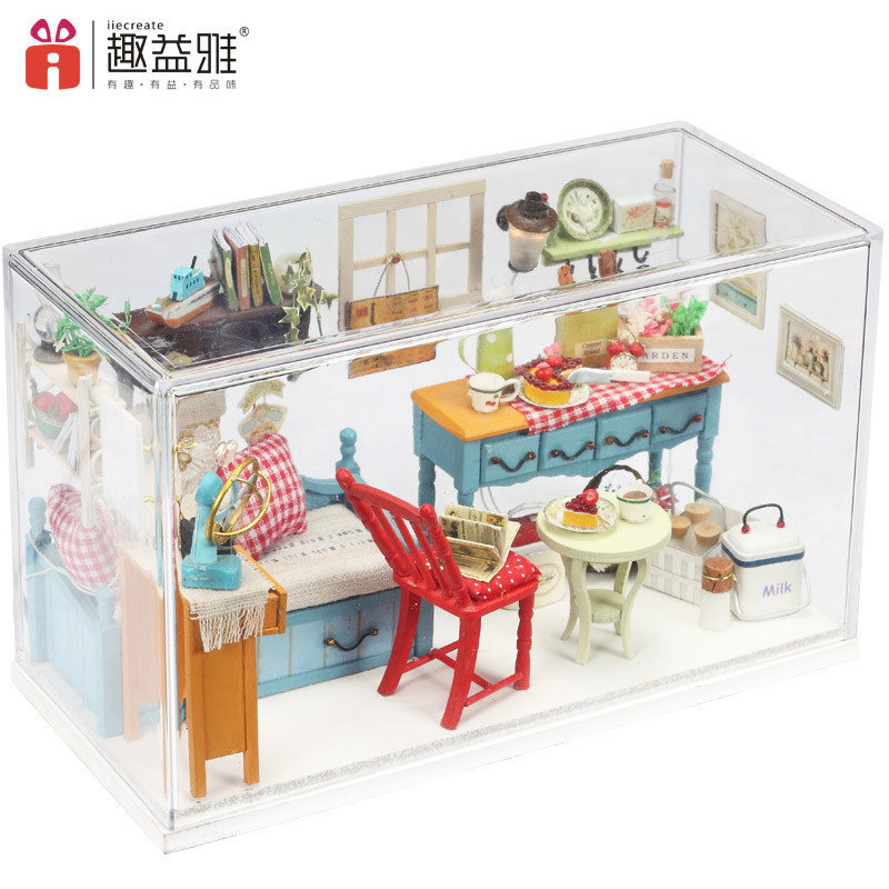 iiE CREATE DIY 3D Wooden Doll House Room Decoration Hands-on Ability LED light+Furniture+Cover Toys for Children Birthday Gift