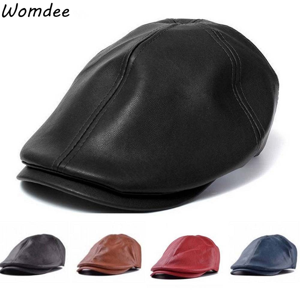 9481273aab18a5 Fashion Unisex faux leather women mens Baret PU Leather Flat Cap Cabby Hat  Vintage Newsboy Ivy Driving cap