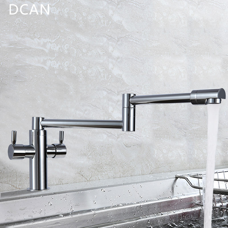 DCAN Kitchen Faucets Kitchen Sink Faucets Dual Handle Mixer Tap Chrome Finish Pot Filler Faucet 100% Brass Folding Faucet