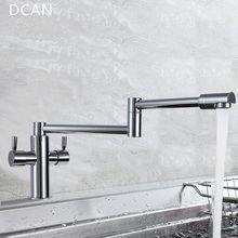 DCAN Kitchen Faucets Kitchen Sink Faucets Dual Handle Mixer Tap Chrome Finish Pot Filler Faucet 100% Brass Folding Faucet