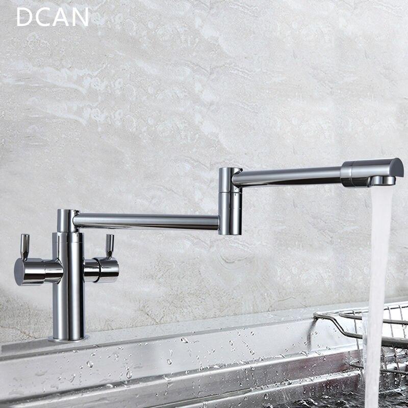 DCAN robinets de cuisine robinets d'évier de cuisine double poignée mélangeur robinet Chrome finition Pot de remplissage robinet 100% laiton robinet pliant