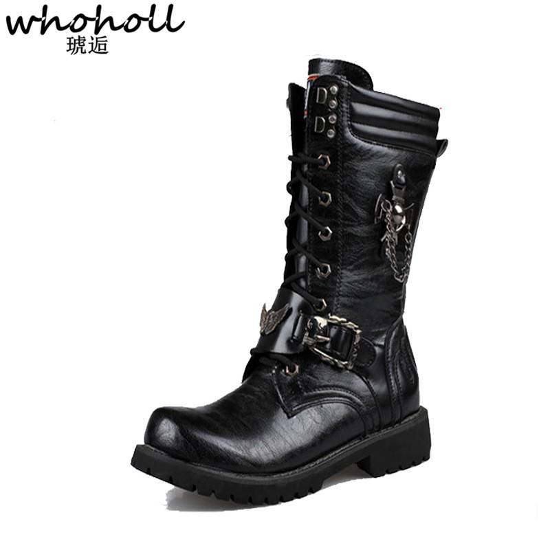 WHOHOLL Winter Men Motorcycle Boots 2018 Fashion Mid Calf Punk Rock Quality Shoes Mens PU Leather