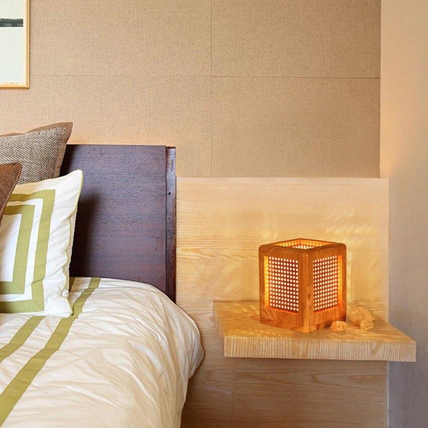 Modern Oak Wood Table Lamp E27 Ac110v-240v Us Plug Ceramic Table Lamp Bedroom Bedside Lamp Indoor Living Room Bedroom Lamp Clear-Cut Texture Lights & Lighting
