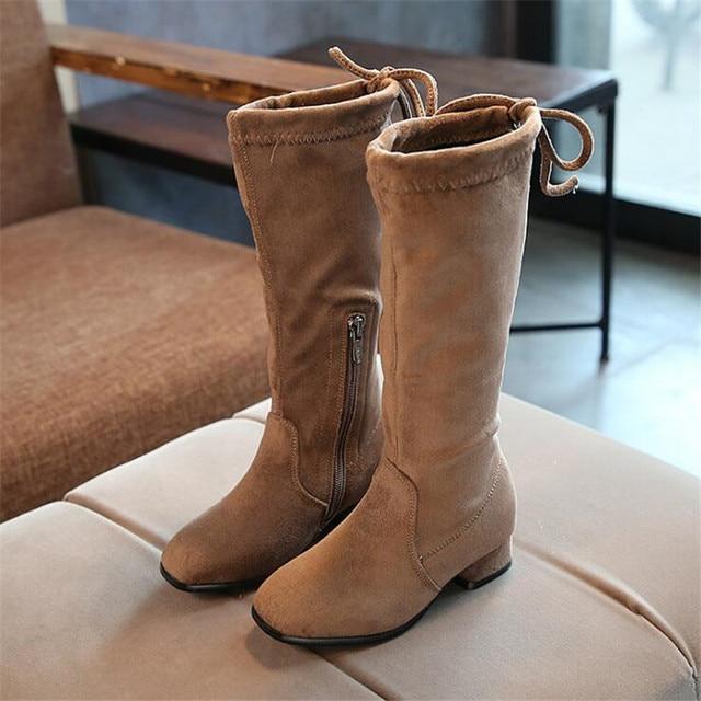 ac8cef8ddfe Stretchy Slim Leg Over Knee Elastic Long Boots for Baby Girls Flock Kids High  Thigh Boot Children Brand Black Khaki Plush Shoes
