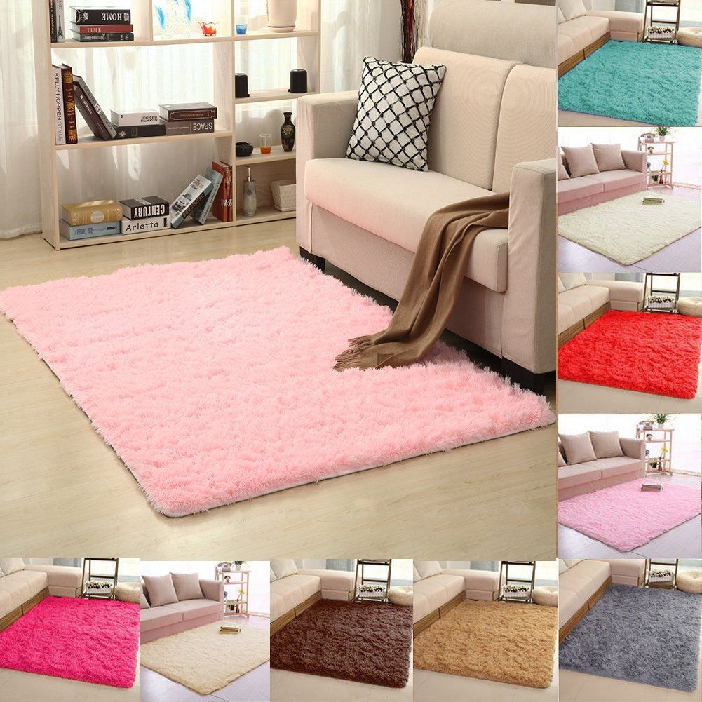 Rectangle Floor Mat 40*60 50*80 50*120cm Fluffy Rugs Anti-Skid Shaggy Area Carpets for Living Room Bedroom Study Home Decoration image