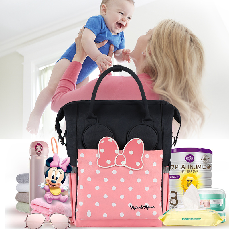 Disney Minnie Thermal Insulation Bag High-capacity Baby Feeding Bottle Bags Backpack Baby Care Diaper Bags Oxford Insulation Bag disney new upgraded version mickey and minnie insulation bag top capacity baby feeding bottle bags diaper bags oxford usb bags